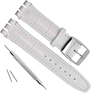 Alligator Grain Cow Leather Stainless Steel Buckle Watch Band Strap (17mm, White)