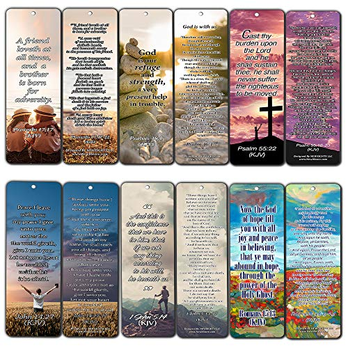 NewEights Christian KJV Bookmarks Cards with Popular Inspirational Bible Verses (60-Pack)