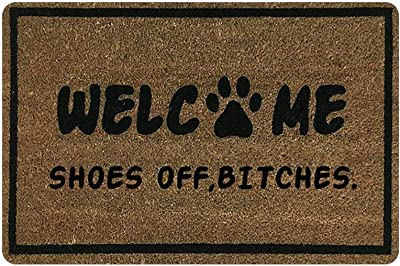 Personalized Shoes Off Bitches Welcome Door Mat Non Slip Doormat Outdoor Indoor Entrance Rug Rectangular Shoe Scraper Dirt Trapper Mats 23.6 * 15.7 inch
