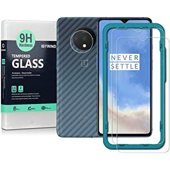 Ibywind Screen Protector for OnePlus 7T [Pack of 2] with Camera Lens Tempered Glass Protector,Back Carbon Fiber Skin Protector,Including Easy Install Kit