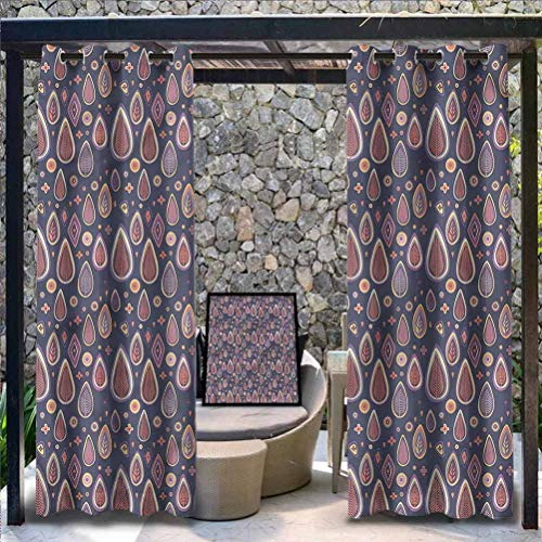 Anmaseven Modern Polyester 100% Blackout Window Curtain Panels Outdoor Grommet Top Single Panel Wooden Floral Geometrical 96' W by 72' L(K245cm x G183cm)