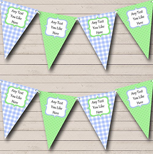 Green Blue Gingham and Polka Dot Welcome Home New Baby Bunting Banner Garland