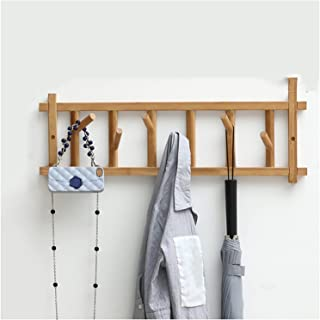 Wall-Mounted Coat Rack Bamboo Wall Mounted Coat Rack Length 60 cm with 6 Hooks, Hanger for Coats Hats Keys Towels, Used in...