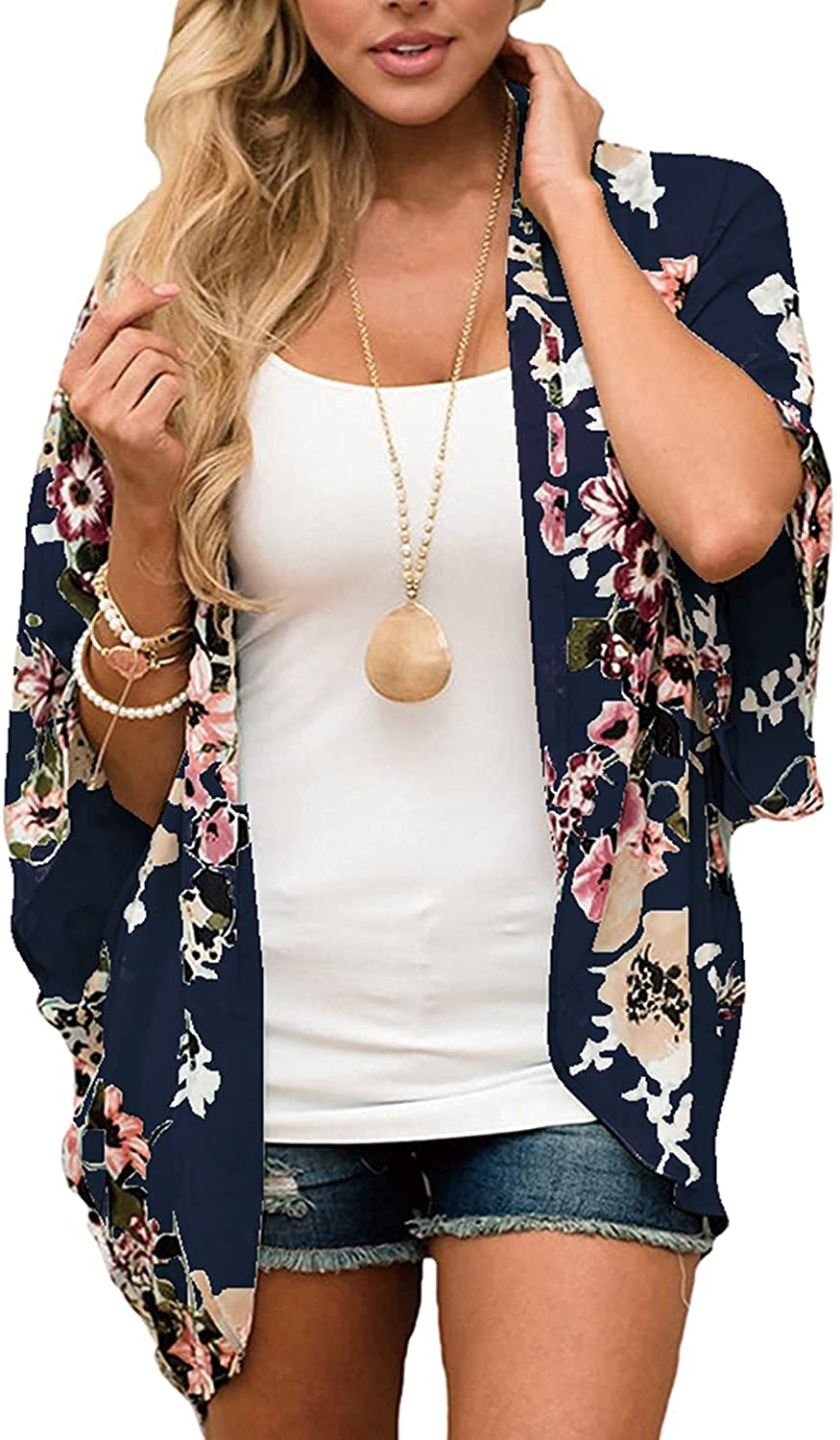 BB&KK Women's Floral Kimono Cardigans Chiffon Casual Loose Open Front Cover Ups Tops