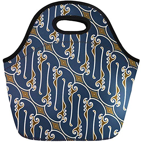 Lunch Tassen Goedkope Bruin Abstract Blauw Batik Patroon Vogel Clip Oost Neopreen Lunch Bag Lunchbox Tote Bag Draagbare Picknick Bag Koeltas