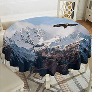 ScottDecor Microfiber Round Tablecloth Mountain Frozen Peaks Tops of The Mountain with a Flying Eagle Free in Nature Photo Brown White Blue Wrinkle Free Tablecloths Diameter 54