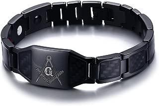 Stainless Steel Black Carbon Fiber Enamel Masonic Magnetic Bracelets for Men