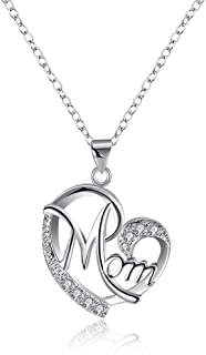 FCZDQ Stainless Steel Love Mom Forever Moon and Heart Pendant Womens Adjustable Necklace
