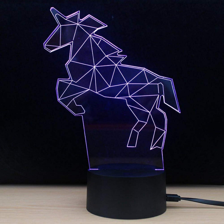 Wuqingren 7 Farben 3D Einhorn modellierung led nachtlicht schreibtischlampe Hause Schlafzimmer dekor Baby Schlaf Beleuchtung Geschenke,Remote und berühren