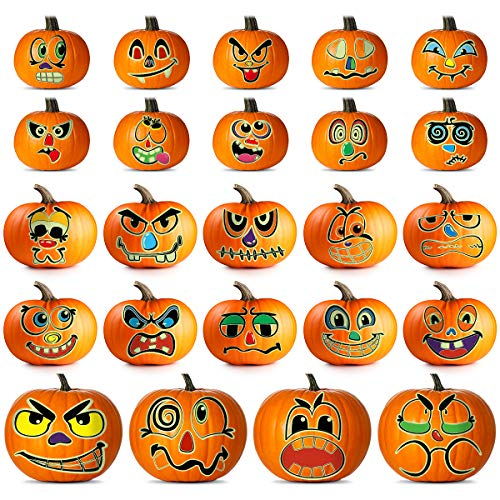 Glowing Pumpkin Decorating Kits Stickers, Halloween Pumpkin Decorations Crafts for Kids, Halloween Wall Decorations Stickers for Autumn Halloween Party Favors - 24 Sets