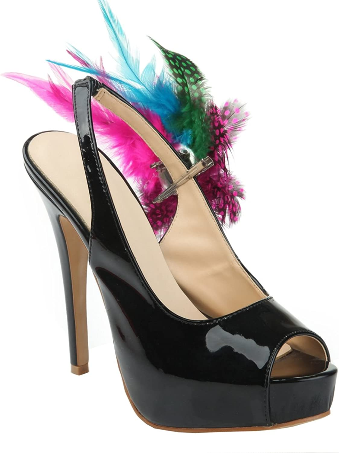 TDA Women's Slingback colorful Feathers Platform Patent Leather Evening Party Dress Stiletto shoes