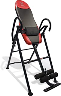 Body Vision IT9550 Deluxe Inversion Table with Adjustable Head Pillow & Lumbar Support Pad, Red - Heavy Duty up to 250 lbs