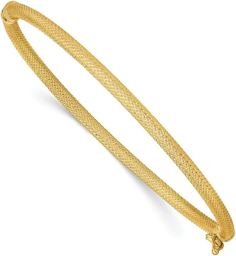 14k Yellow Gold Textured Hinged Bangle Bracelet Cuff Expandable Stackable 7 Inch Fine Jewelry For Women Gifts For Her