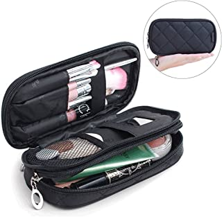 Samtour Makeup Bag Portable Makeup Pouch Makeup Brush Holder 2 Layer Cosmetic Organizer for Travel Women Girls (Black Small)