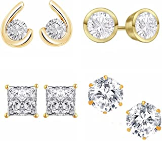 Kaizer Jewelry CZ Cubic Zircon (Solitaire Diamond) Stud Earring Combo of 4 for Women Girls DS-01