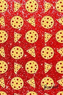 Journal: Faux neon red glitter pizza notebook