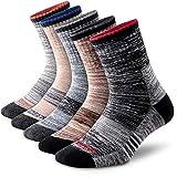 Men's Hiking Walking Socks, FEIDEER 5 pack Wicking Cushioned Outdoor Recreation QuarterLow Cut Ankle Socks for Men (TJ-2-5MS20105-L)