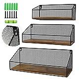Schliersee Mesh Floating Shelves Wall Mounted Storage Shelf Set for Bathroom, Bedroom, Kitchen, Living Room, Office, Set of 3 Pack