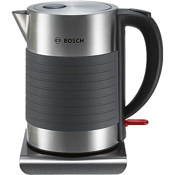 Bosch TWK7S05 kabelloser Wasserkocher, Abschaltautomatik, Überhitzungsschutz, Dampfstopp-Automatik, einfache Reinigung, 1,7 L, 2200 W, schwarz/grau