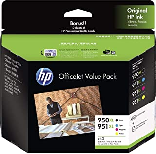 HP Officejet Value Pack 950XL and 951XL (2EZ26A) Ink Cartridges with Bonus 10 Sheets of HP Professional Matte Cards