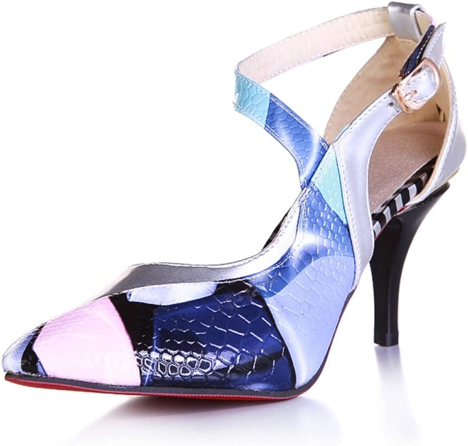 Women Thin High Heels Mixed colors Sandals Sexy Ankle Buckle Strap Ladies Fashion Dress shoes