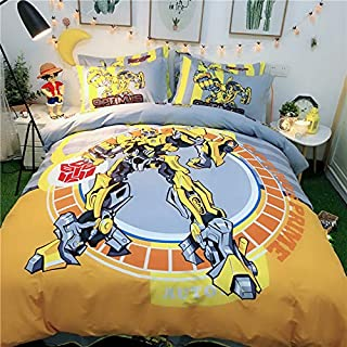 Casa 100% Cotton Kids Bedding Set Boys Transformers Bumblebee Duvet Cover and Pillow case and Fitted Sheet,3 Pieces,Twin