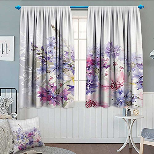 "Lavender Blackout Window Curtain Pink Purple Cornflowers Bridal Classic Design Gentle Floral Art Wedding Decorations Print Customized Curtains 52""x63"" Violet Pink White"