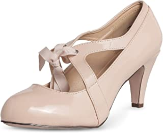Chase & Chloe Kimmy-66 Closed Toe T-Strap Two Tone Oxford Pumps