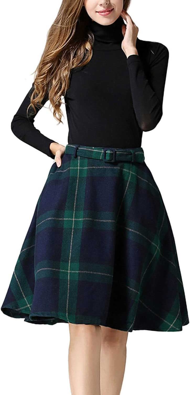 Wonder Women's Plaid Wool Knee Length Skirt ALine Pleated Vintage Flared Swing Skirt with Pockets