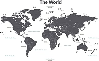 DECOWALL DLT-1609G Modern Grey World Map Kids Wall Decals Wall Stickers Peel and Stick Removable Wall Stickers for Kids Nursery Bedroom Living Room (XLarge)