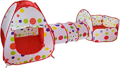 OOFAY Zelt Kinderspielhaus Wave Point Tunnel Dot 3 in 1 Square Indoor-Strand Spielplatz,rot