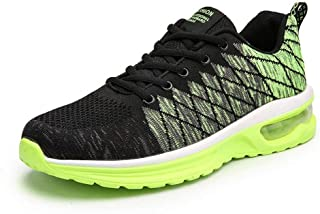 Men's Shoes Summer 2019 New Flying Woven Mesh Trend Running Shoes Couple Sports Shoes (Color : Black+Green, Size : 44)