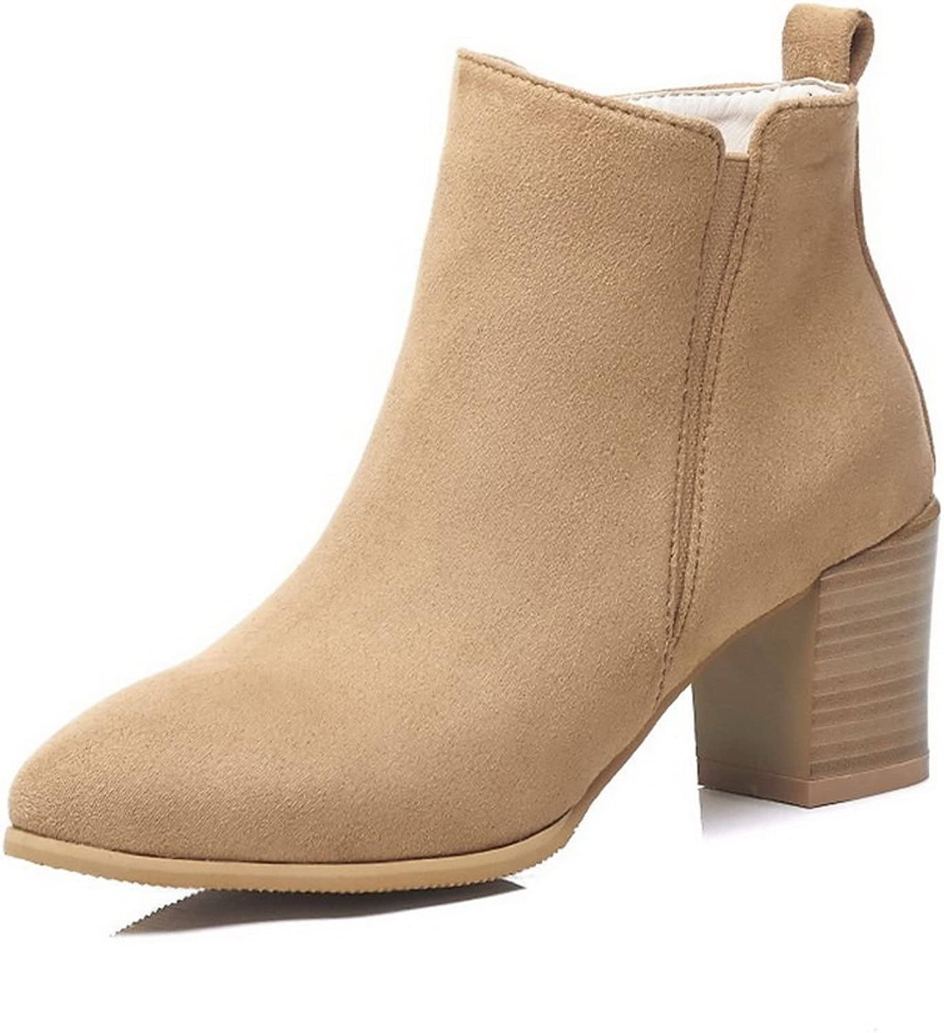 BalaMasa Womens Not_Water_Resistant Chunky Heels Pointed-Toe Suede Boots ABL10487