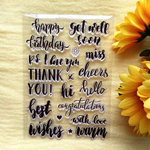 GAOZONGTER Words Thank You Best Wishes Happy Birthday Clear Stamps for Card Making DIY Scrapbooking Silicone Stamps Transparent Stamps Album Photo Decor