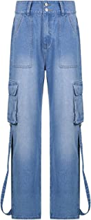 keepwo Womens Cargo Jeans Trousers Ladies Cotton Combat Work Pants Military Outdoors Casual Jeans Size M