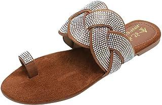 Women Fashion Imported Weave Crystal Slides Shiny Bring Summer Elegant Flat Slipper Sandals Slides Shoes