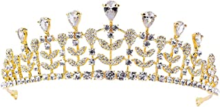 Frcolor Bridal Tiara Crown Luxury Zircon Leaves Shaped Headbands Bridal Queen Hair Accessories
