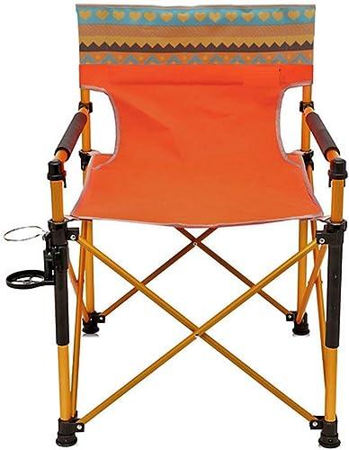 JHNEA Chaise de Camping Fauteuil Pliable, Quad Pliante Fauteuil de PêChe Chaise De Plage Chaise de Camping Pliante avec Porte-Boisson pour Randonneurs Camping Plage,Orange_82x56cm