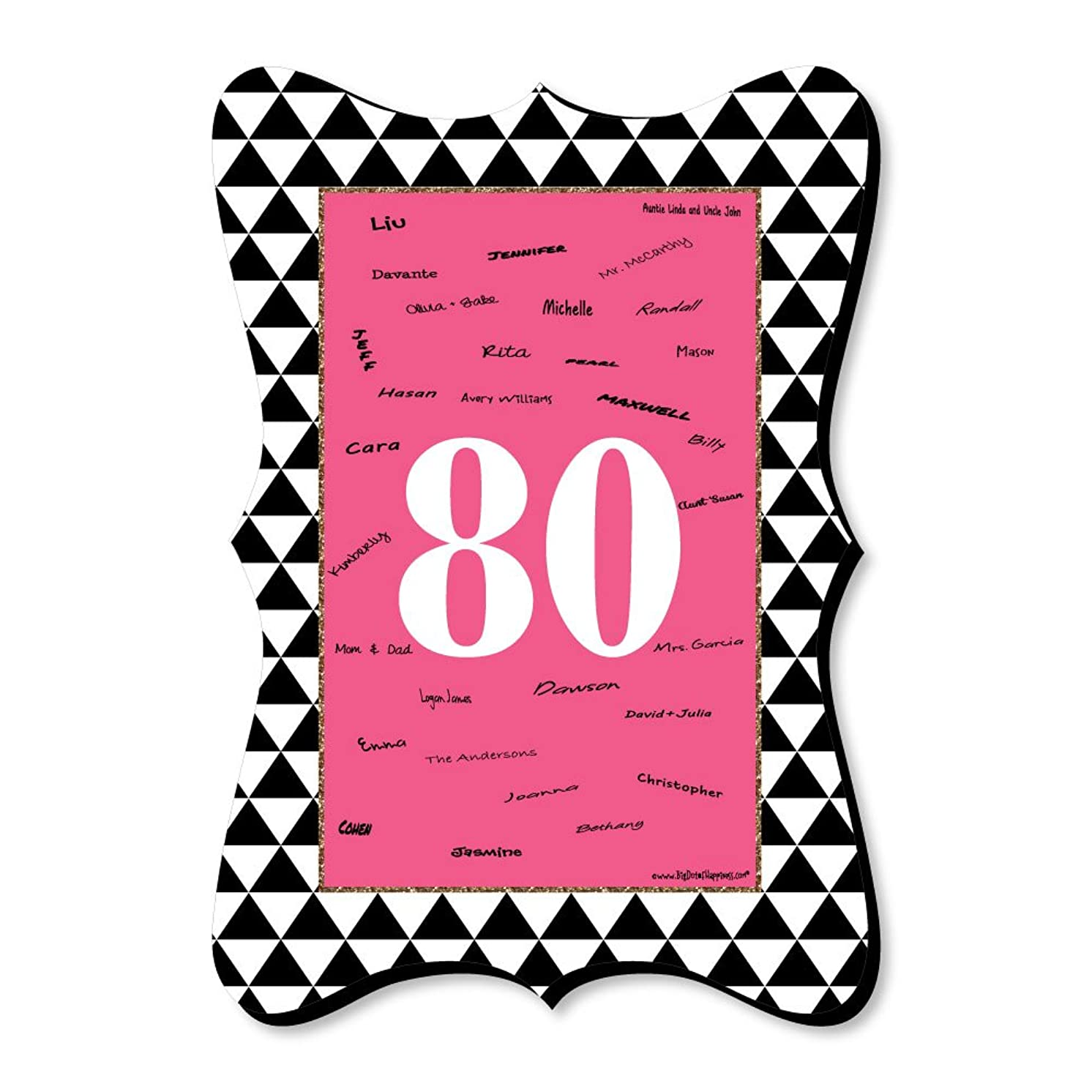 Chic 80th Birthday - Pink, Black and Gold - Unique Alternative Guest Book - Birthday Party Signature Mat