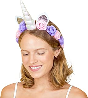 xo, Fetti Unicorn Horn Flower Crown Headband - Child + Adult   Halloween, Unicorn Party Supplies + Unicorn Present Girl