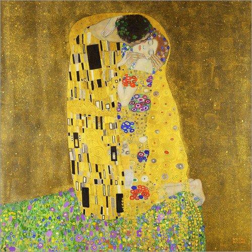 Posterlounge Acrylglasbild 70 x 70 cm: Der Kuss (Quadrat) von Gustav Klimt - Wandbild, Acryl Glasbild, Druck auf Acryl Glas Bild