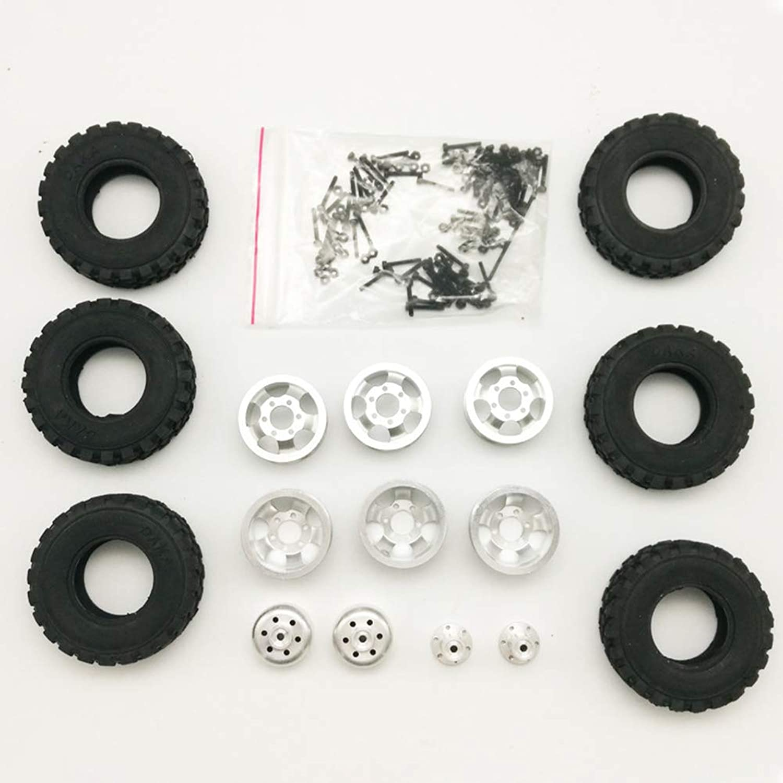 Elegantstunning Upgrade DIY Double Tire Metal Modification Wheels Set for WPL B14 B24 B16 B36 Q60 Q61 Four Six Drive Army Kass Special 4 Drive Metal Wheels (Including Tires)