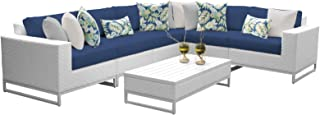 Delacora MIAMI-07G-NAVY Florida 7-Piece Aluminum Framed Outdoor Conversation Set with Coffee Table