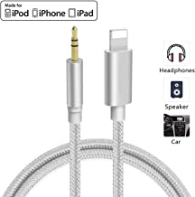 Aux Cord for iPhone 3.5mm Aux Cable for Car Compatible with iPhone Xs/XR/X/8/8Plus/7 for Car Stereo/Speaker/Headphone and More Support All iOS System - Silver