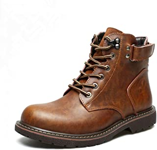 Dr. Martin Unisex Boots Casual mid-top leather boots fashion retro tide shoes thick wear-resistant ankle boots thick bottom round head boots simple non-slip ankle boots (Color : Brown, Size : 43)