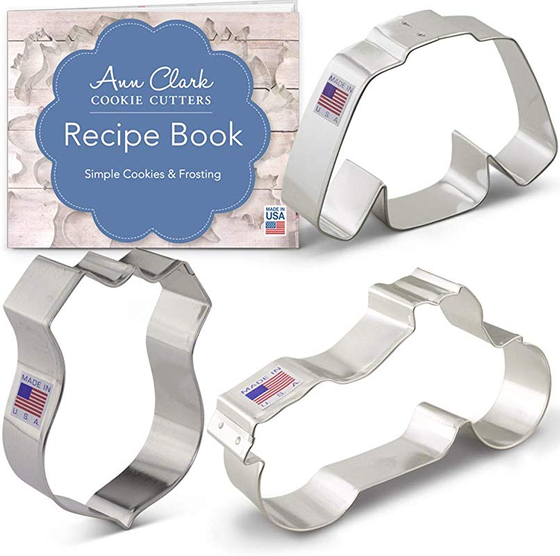 Ann Clark Cookie Cutters 3 Piece Born To Ride Biker Cookie Cutter Set With Recipe Booklet Motorcycle Route Sign Jacket