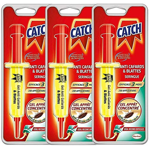 Catch - Gel Anti cafards 10 GR, SERINGUE Insecticide LOT DE 3