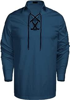 COOFANDY Mens Scottish Jacobite Ghillie Kilt Shirts White Cream Highland Shirt Casual Long Sleeve Lace-up Shirt