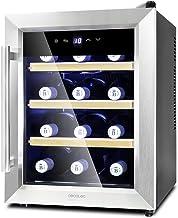 Cecotec Grand Sommelier 1200 Coolwood wijnkoelkast, 12 flessen, inhoud 33 l, design glazen deur met roestvrijstalen frame ...
