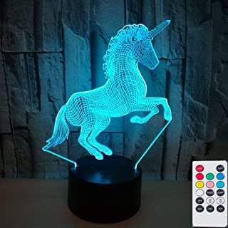 Unicorn 3D Lamps Nightlight with Remote Control, 7 Colors Touch Switch Table Desk Lamps Holiday Xmas Birthday Toys Gifts for Baby Nursery Toddler.